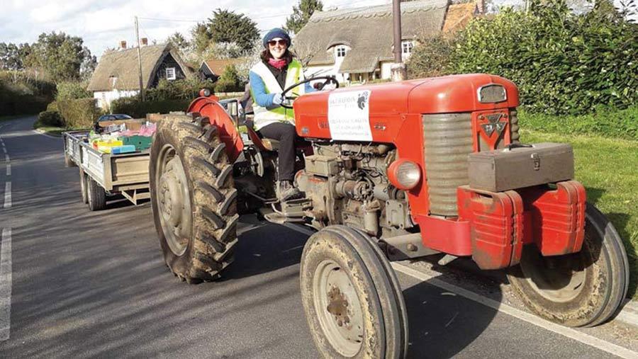 Sarah Barron on tractor