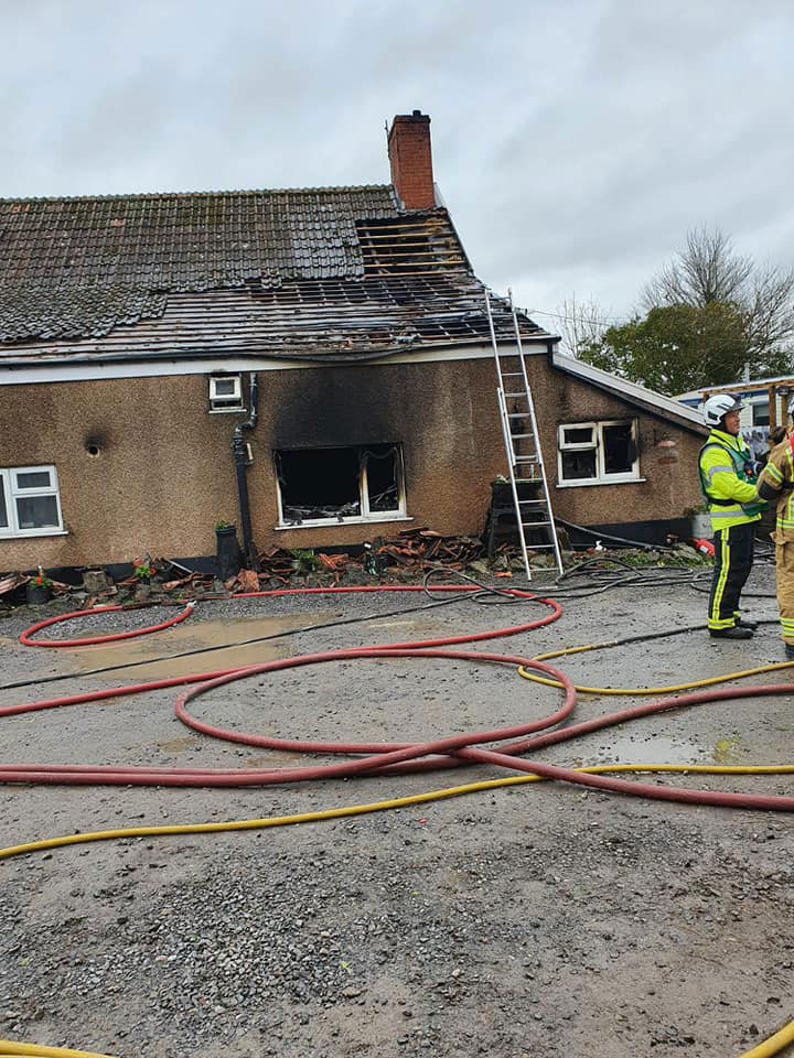 Fire damage at Brent House Farm