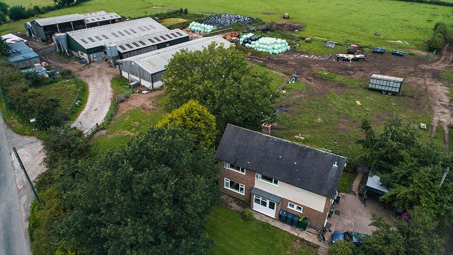 Aerial view of 7 Rue Barn farm buildings