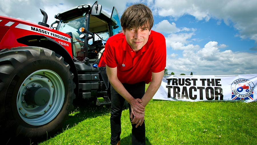 Red Tractor's Trust The Tractor campaign is supported by musician, farmer and food writer Alex James © Assured Farm Standards