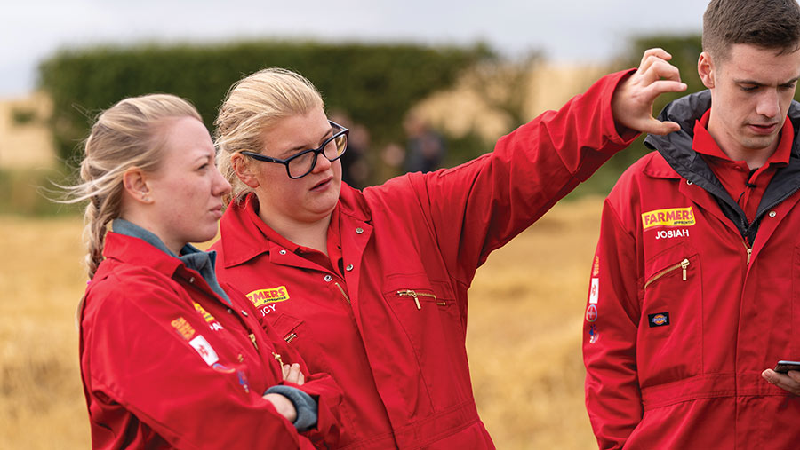 Lucy Dickinson (centre) and other contestants during bootcamp © Tom Askew-Miller