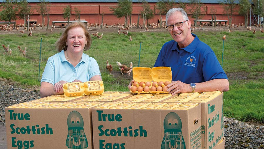 Anne and Jim Smillie with boxes of free-range eggs