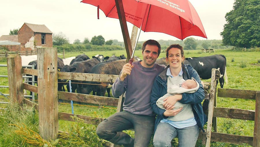 Farmer Matthew Wright with wife and daughter © Rodbaston College
