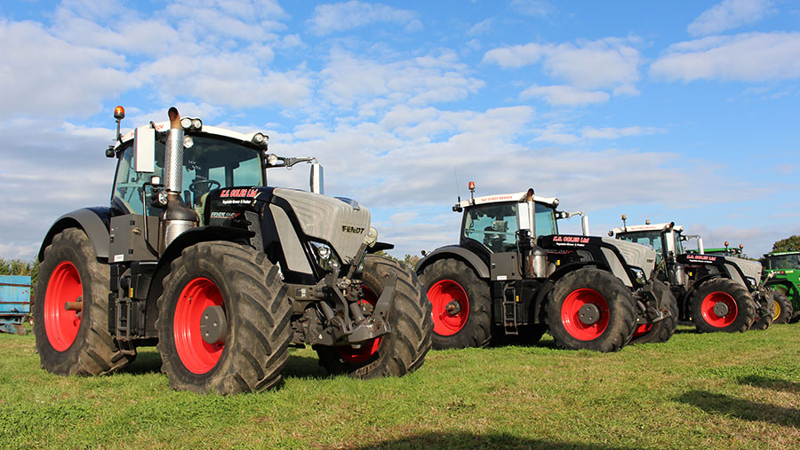 Three Fendt 930 tractors