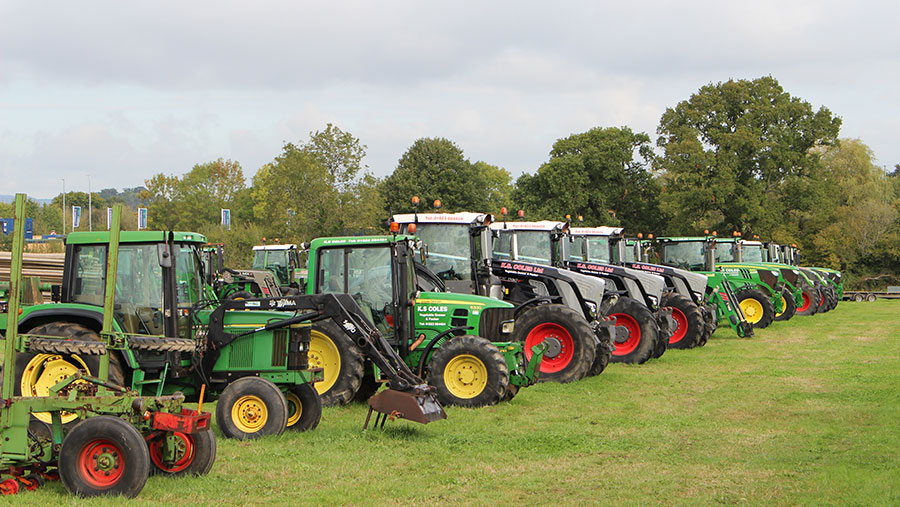 Line-up of tractors at auction