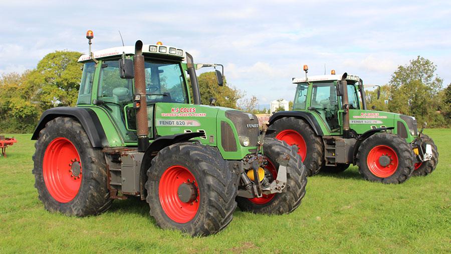 Two Fendt 820 tractors