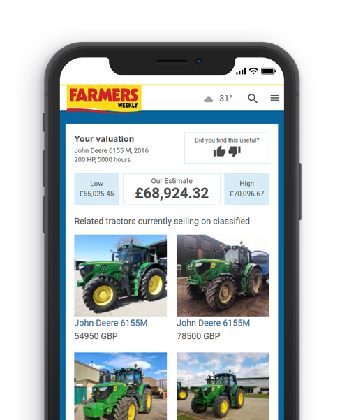 farmer looking at his ipad in excitement