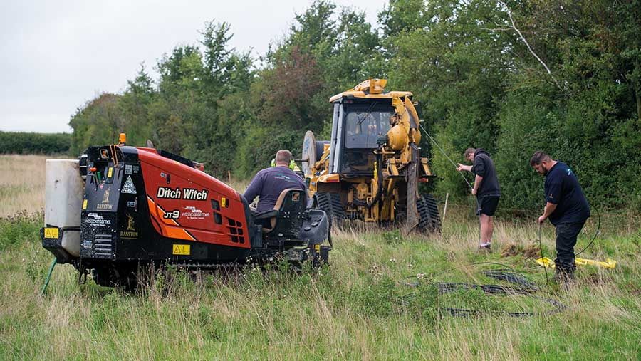 Cable being rolled out for Ditch Witch tunnel