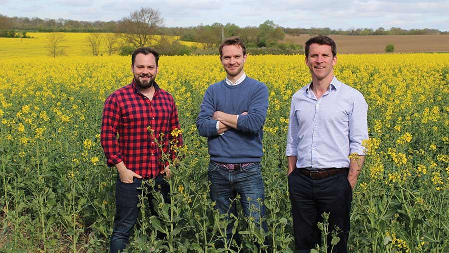 Yagro co-founders Gareth Davies (centre), Dan Jolly (right) and Richard Sears