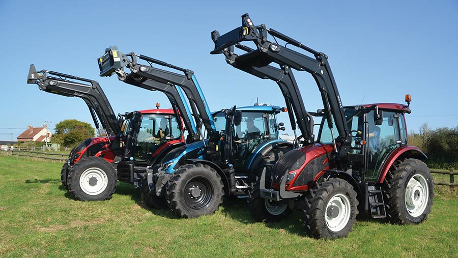 Line-up of Valtra G-series tractors
