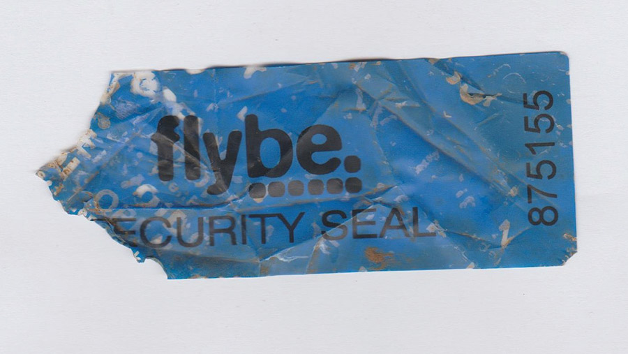 Plastic label with the word Flybe