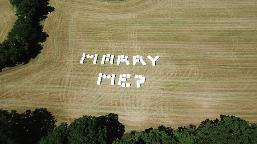 Wedding proposal in bales ©Mark Howard-Smith