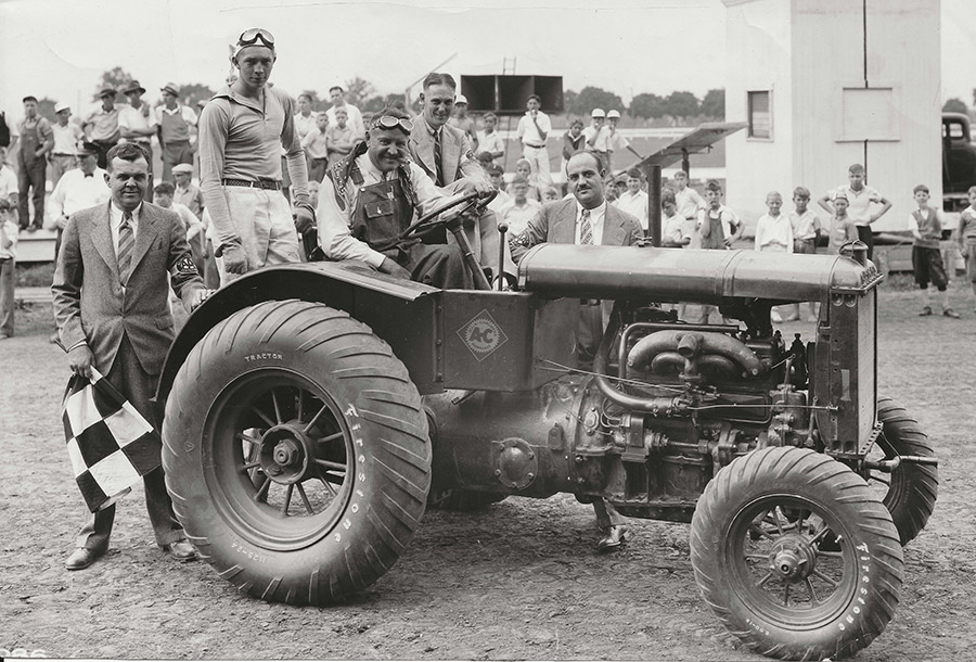 An Allis Chalmers racing tractor with Ab Jenkins at the wheel