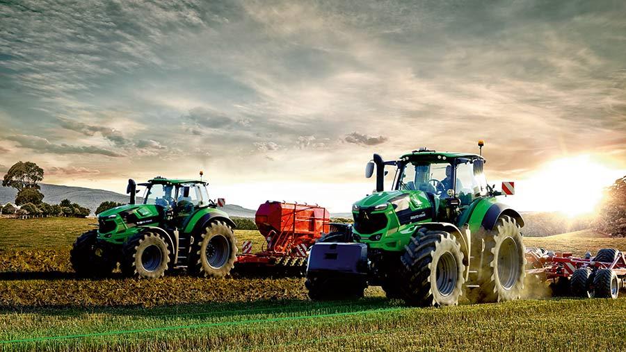 Deutz Fahr series-8 tractor in field