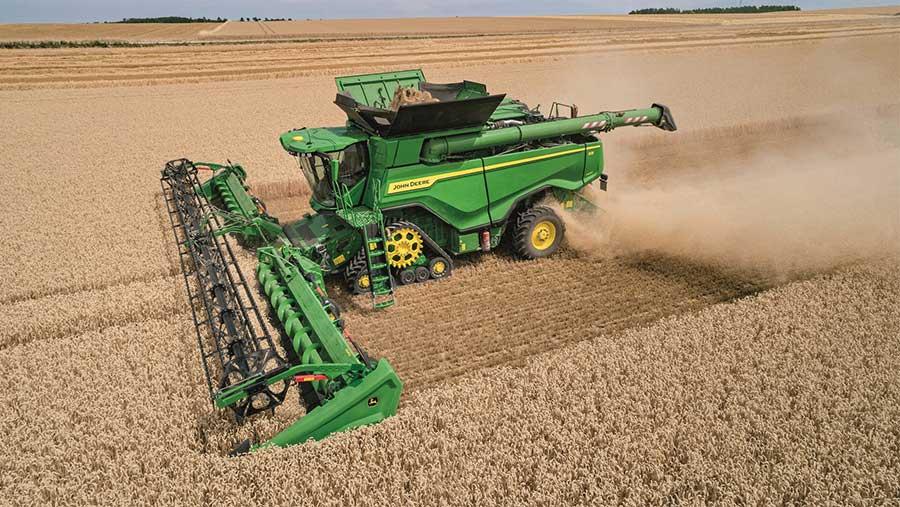 Aerial view of John Deere X9in wheat field
