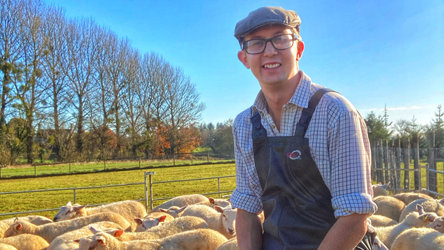 Karl Franklin with his sheep flock
