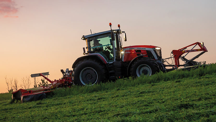 Massey Ferguson 8S-series in a field at sunset