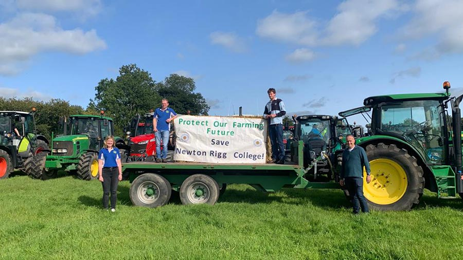 Tractor and trailer with a sign reading Protect our Farming Future Save Newton Rigg College
