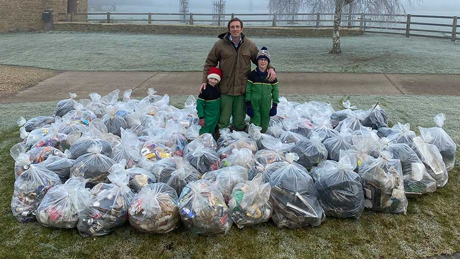 Joe Adams with Jessica and Henry and a year's worth of roadside litter © Joe Adams