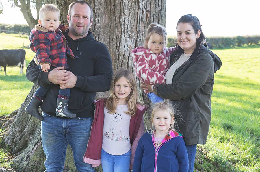 Dairy farmers Einion and Elliw Jones and their four children