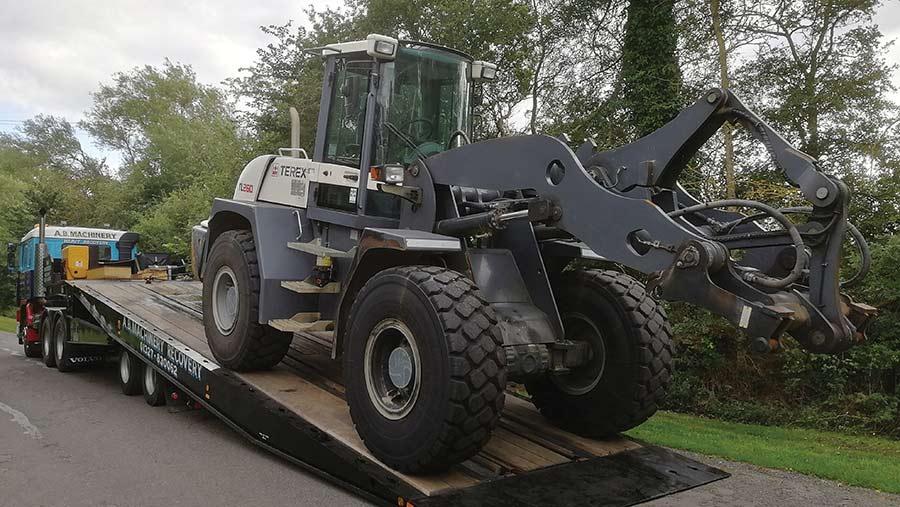 Volvo F12 recovering Terex loading shovel