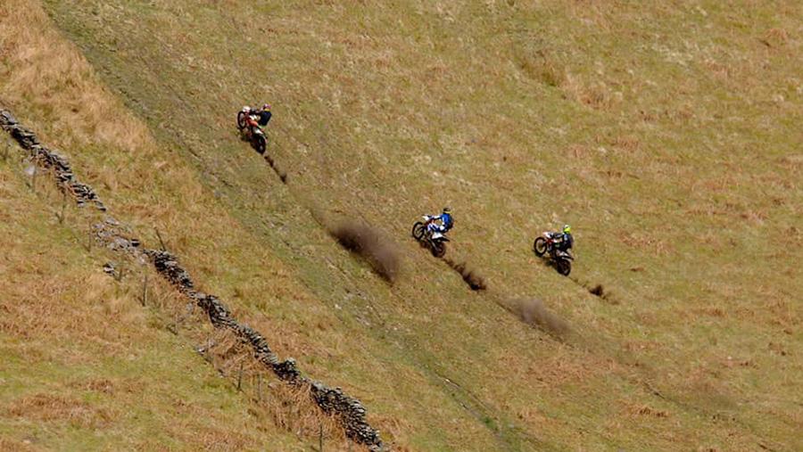 Off-roaders on moorland