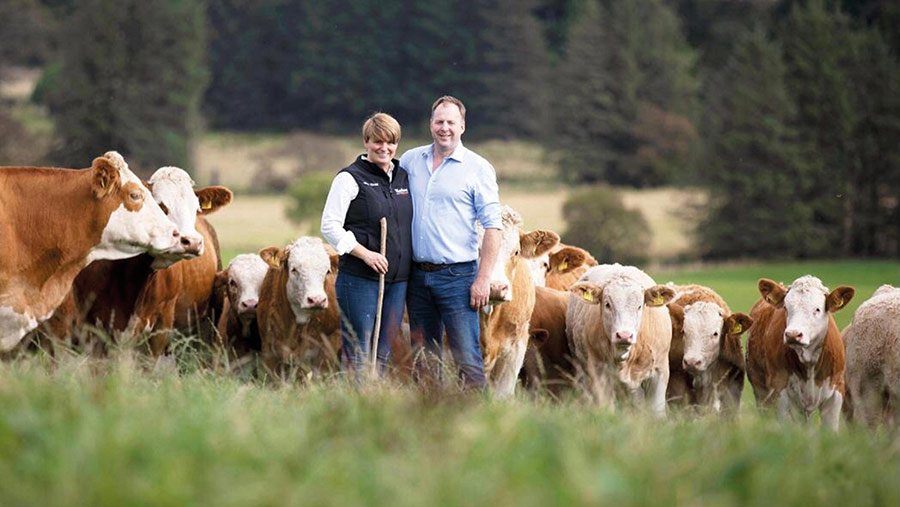 Stewart Stronach and his partner Hazel with the cows at Berryleys farm