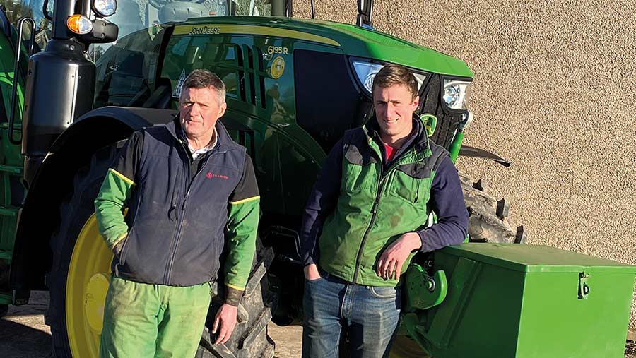Two farmers with tractor