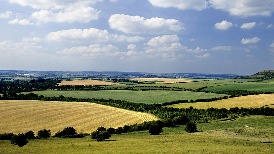 View of the farmland of the Aylesbury Valley from the Chilterns