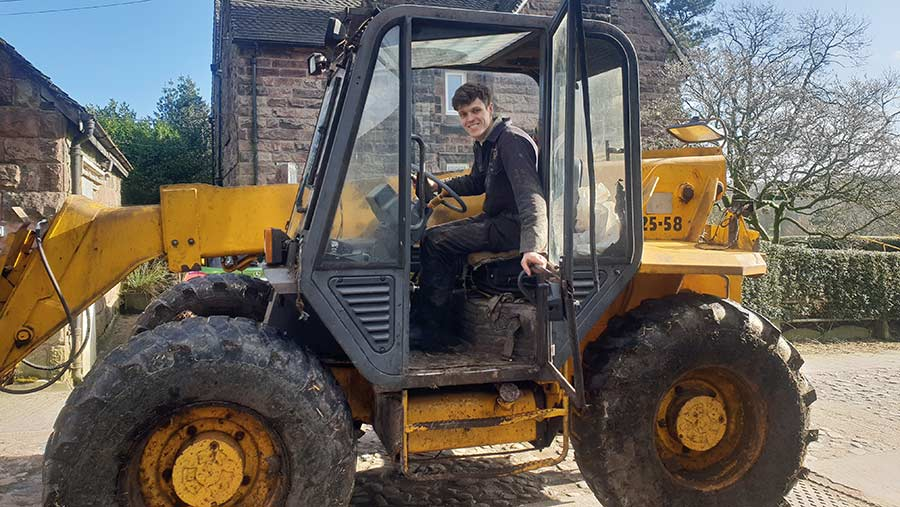 Connor Smith in tractor