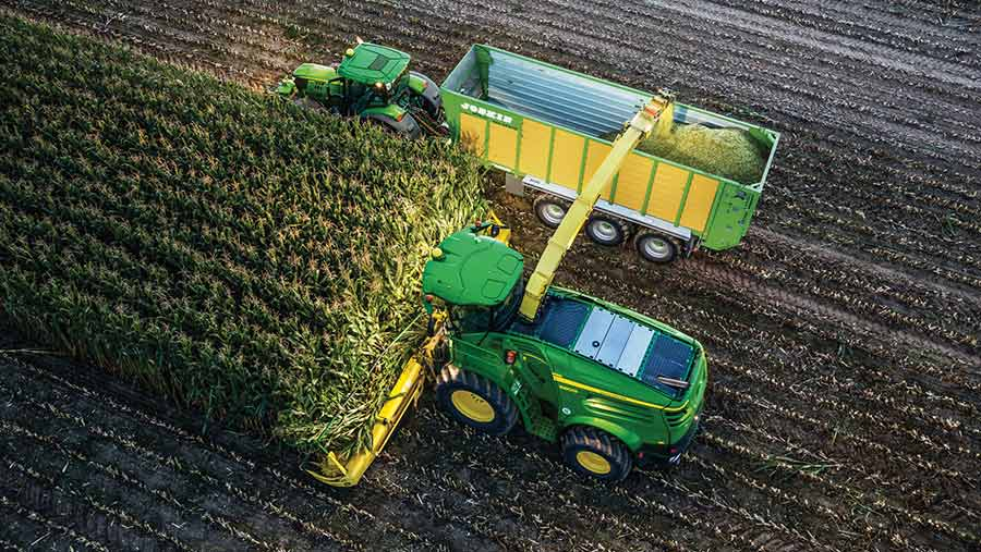 Overhead view of a combine and tractor-trailer