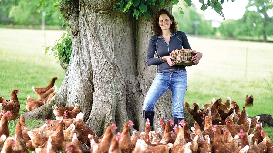 Alison Younger with free-range hens