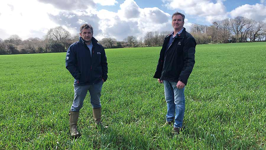 Richard Tresidder and Oliver Bromley in field