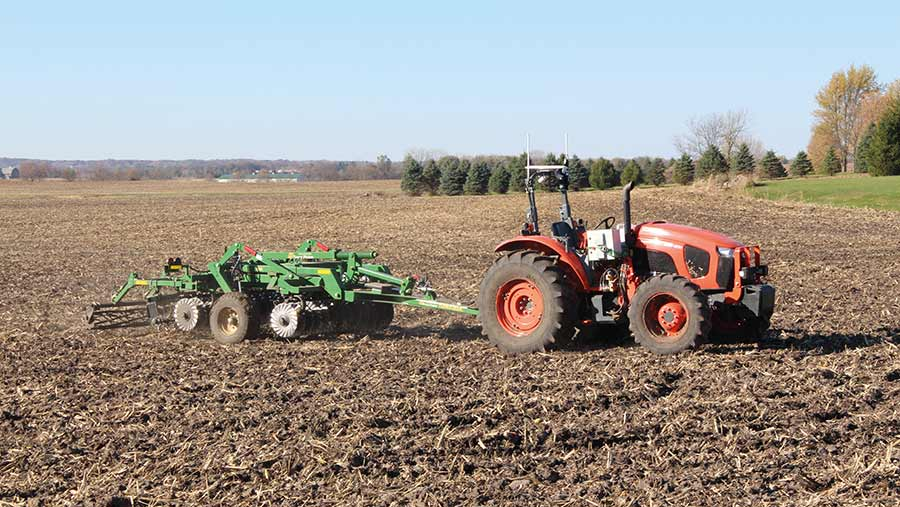 automated tractor in field