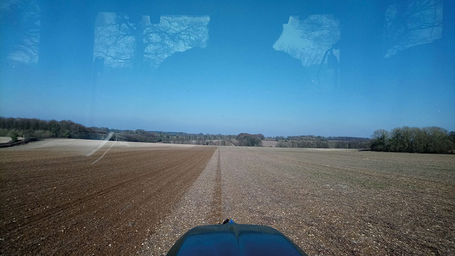 View of stubble from the tractor window