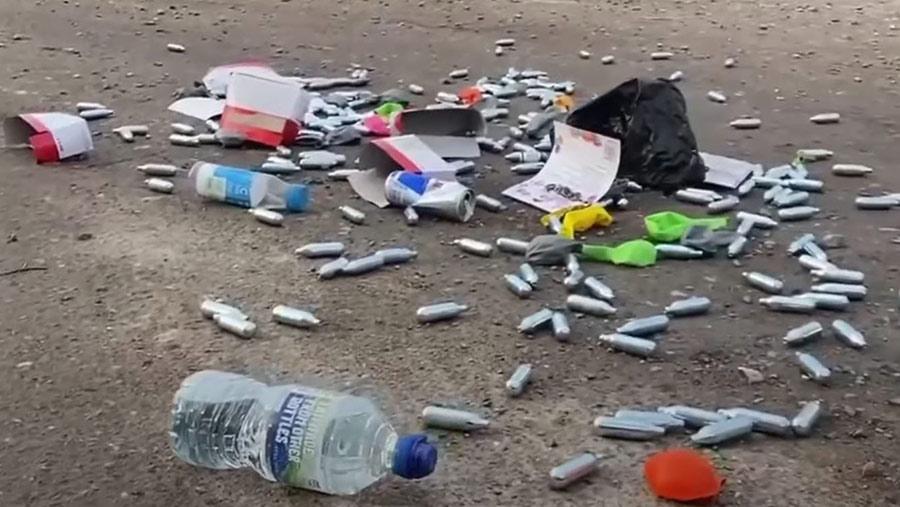 Litter in field