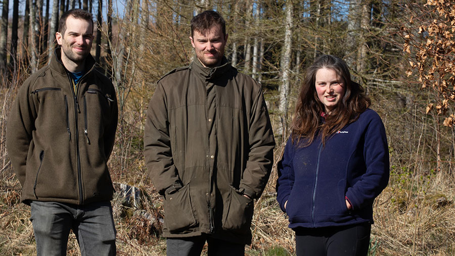Patrick Barbour (left) with brother Robert and sister Catherine © NFUS