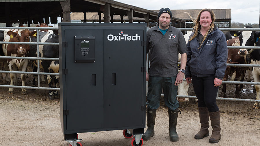Andrew Smith and Molly Sellars take delivery of their on-farm disinfectant system © MAG/Judith Tooth