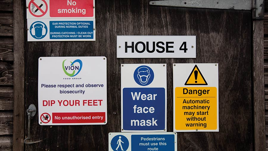 Warning signs on chicken sheds