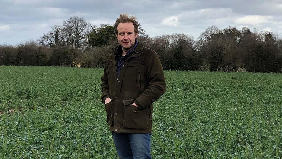 Farmer Kit Papworth in a field
