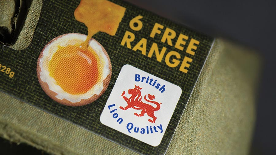 Lion Quality label on an egg box