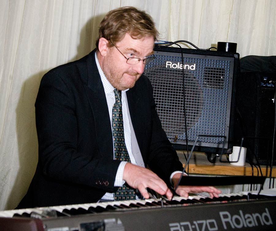 Charlie Flindt playing an electric piano