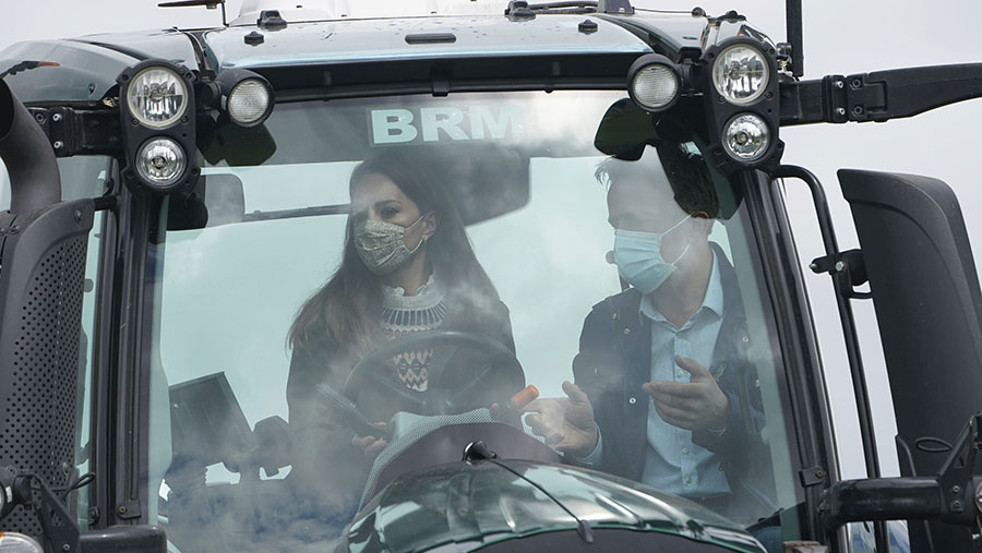 Duke and Duchess of Cambridge in tractor