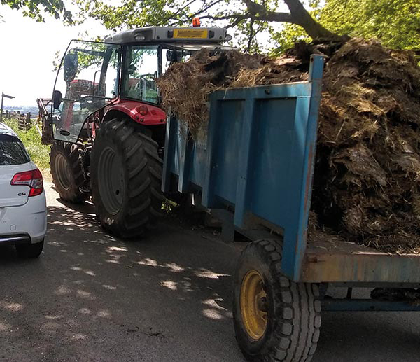 Trailer hitched to ractor and loaded with muck