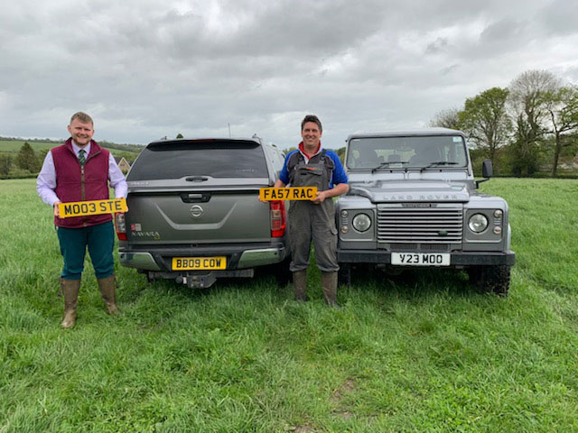 Olly Hares (centre) and Charlie Coleman with numberplates