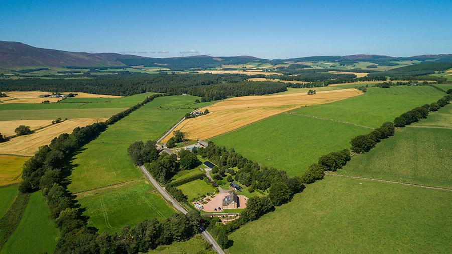 Aerial shot of Blelack Farm