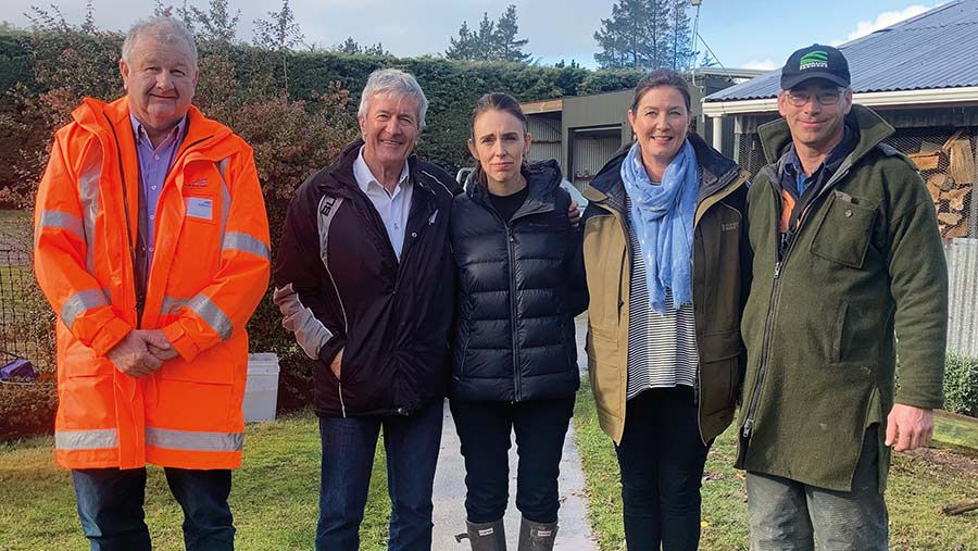 Left to right: Ashburton district mayor Neil Brown, minister of agriculture Damien O'Connor, prime minister Jacinda Ardern, Rangitata MP Jo-Anne Luxton, and David Clark © Supplied by David Clark
