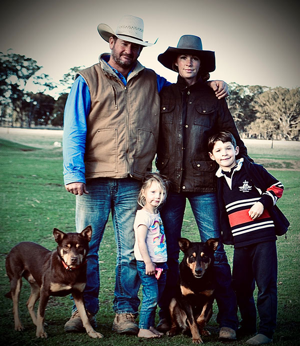 Sarah Lee and her family with Hoover the kelpie (bottom left)