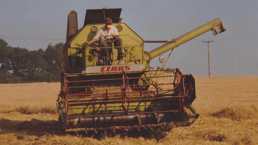 combine harvester on road