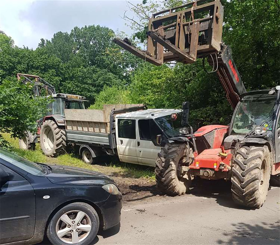 fly-tippers blocked by tractor